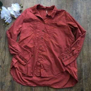 Free people rust red bib button down blouse M